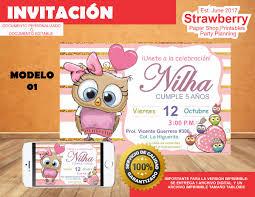 Invitacion Cumpleanos Buho Nina Buhos 85 00 En Mercado Libre