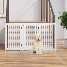 Tucker Murphy Pet Free Standing Wooden Pet Gate Indoor Dog Barrier Foldable Step Over Doorway Fence Safety Gate With Open Door Z Shape 3 Panel Wayfair Ca