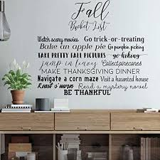 Amazon Com Autumn Wall Decal Fall Bucket List Vinyl Decor With The Top Things To Do During The Fall Season Handmade
