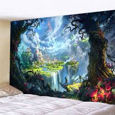 Retro Fairy Tale Printed Wall Tapestry Children S Bedroom Decorative Picnic Mat