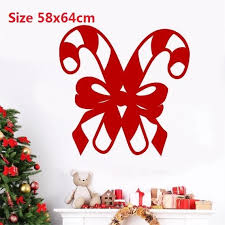 Candy Canes And Bow Decal Holiday Decoration Christmas Wall Decal Window Sticker Vinyl Wall Lettering Vinyl Wall Decals Wall Stickers Aliexpress