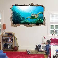 Sea Turtle 3d Smashed Wall Sticker Decal Home Decor Art Mural Animals J1167 Home Garden Children S Bedroom Boy Decor Decals Stickers Vinyl Art Ayianapatriathlon Com