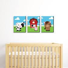 Farm Animals Barnyard Nursery Wall Art Kids Room Decor 7 5 X 10 Set Of 3 Prints Walmart Com Walmart Com
