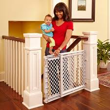 Toddleroo By North States Heavy Duty Stairway Baby Gate 27 41 Wide Light Gray Walmart Com Baby Gate For Stairs Baby Safety Gate Baby Gates