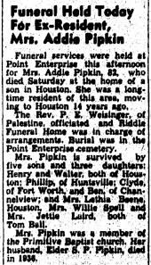 Addie Parker Pipkin - Obit The Mexia Daily News (Mexia, Texas) July 12,  1954 - Newspapers.com