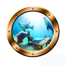 Underwater Scene Porthole Vinyl Wall Decal Seals Family Wall Art Ocean View 3d Window Bronze Portal Art Bp1 Wall Decal