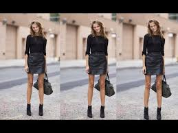 black leather skirt outfit ideas you