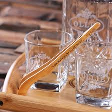 whiskey decanter set with bamboo tray