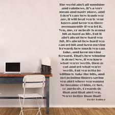 Amazon Com Sports Quotes Wall Decals Rocky Balboa Quotation The World Ain T All Sunshine Vinyl Decor For Locker Rooms Athlete Kids Bedroom Handmade