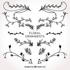 Set Hand Getekende Bloemen Ornamenten Gratis Vector