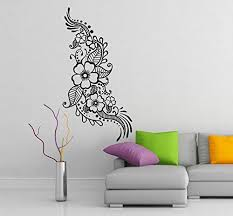 Amazon Com Slaf Ltd 16 X 31 Vinyl Wall Decal Henna Pattern With Flowers Tattoo Design Art Decor Sticker Indian Mehandi Removable Mural Free Random Decal Gift Home Kitchen