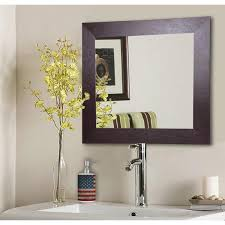 brown leather square vanity wall mirror