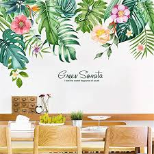 Amazon Com Llydd Leaf Wall Sticker Tropical Leaves Wall Stickers Decal Decor Peel And Stick Self Adhesive For Living Room Bedroom Kitchen Playroom Nursery Room Cheerful Realistic Vibrant Greenish Bright Color Kitchen