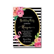 Black And White Flamingo Birthday Party Invitation Customized