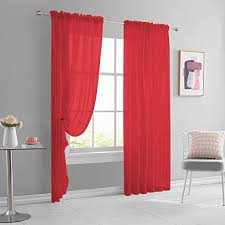 Amazon Com 2 Panels 72 Inches Long Xmas Sheer Window Red Curtains Sets For Girls Kids Room Home Decor Rod Pocket Voile Sheers Drapes Draperies Each Is 52 Inch X 72 Inch Kitchen Dining