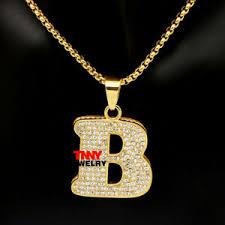 gold b letter charm pendant necklace