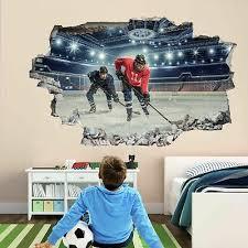 Ice Hockey Players Sports 3d Wall Art Sticker Mural Decal Kids Room Decor Gd10 Ebay