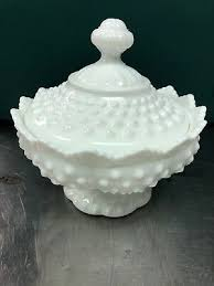 milk glass hobnail compote candy dish