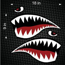 Flying Tigers Shark Teeth Vinyl Decal Stickers V2 P 40 Warhawk 1 Pair 7 In