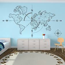Large World Map Compass Earth Wall Sticker Office Classroom World Map Travel Global Exploration Adventure Wall Decal Vinyl Decor Y200103 Bedroom Wall Transfers Best Wall Decals From Shanye10 9 48 Dhgate Com