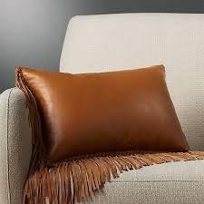 fringe faux leather accent pillow