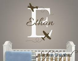 Name Wall Decal Airplane Monogram Wall Decals For Nursery Surface Inspired Home Decor Wall Decals Wall Art Wooden Letters