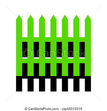 Fence Simple Sign Vector Green 3d Icon With Black Side On White Background Isolated
