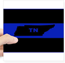 Amazon Com Cafepress Thin Blue Line Tennessee Sticker Square Bumper Sticker Car Decal 3 X3 Small Or 5 X5 Large Home Kitchen