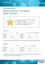 gcse chemistry lesson element balancing