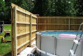 Privacy Fence Installation Certified Contractor Backyard Pool Landscaping Fence Around Pool Above Ground Pool