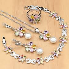 white pearls 925 silver jewelry sets