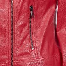 kara studded leather jacket woman red guess