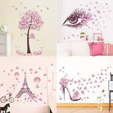 Girls Women Pink Wall Sticker Butterfly Tree Wall Decals For Living Room Wish