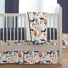 navy and orange woodland 3 piece crib
