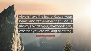 "gennadius of constantinople quote ""always have the fear of god in"