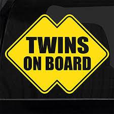 Amazon Com Twins On Board Die Cut Vinyl Decal Sticker Car Window 4 X4 Funny Sign Baby On Board Handmade
