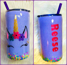 Unicorn Personalized Name Holographic Glitter Tumbler Lavender 12 Oz Girl For Sale Online