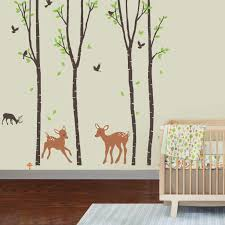 Amazon Com Giant Wall Sticker Decals Birch Tree Forest With Deers And Flying Birds Baby Trees Are 6 Feet Tall Home Improvement
