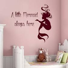Shop Quote A Little Mermaid Sleeps Here Vinyl Sticker Home Interior Nursery Room Sticker Decal Size 33x33 Color Black Overstock 14685625