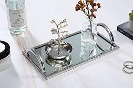 com elegant silver mirror tray