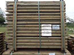 10 X 1 65m 5 5ft X 40mm Diam Round Wooden Fence Posts Stakes Pressure Treated 29 99 Garden4less Uk Shop