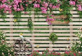 3d Red Flowers Wood Fence Background Wall Mural Wallpaper 295 Jessartdecoration