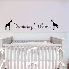Dream Big Little One Giraffes Wall Stickers Kids Bedroom Removable Diy Vinyl Wall Decals Sticker Home Decor Wish