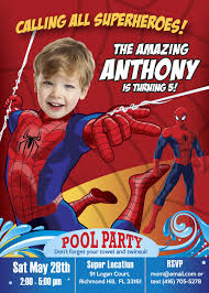 Pool Party Spiderman Birthday Spiderman Pool Party Invitations