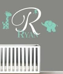 Large Monogram Wall Sticker Baby Name Letter Elephant Dinosaur Owl Branch Ebay