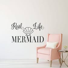 Mermaid Wall Decal With Seashell Vinyl Decor Wall Decal Customvinyldecor Com