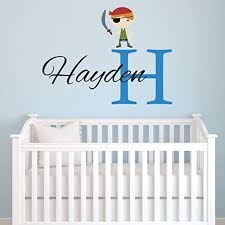 Amazon Com Personalized Pirate Wall Decal For Boys Pirate Name Nursery Removable Monogram Vinyl Wall Decals Pirate Name Vinyl Lettering Boys Bedroom Wall Decor Kitchen Dining