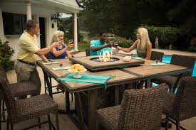 outdoor dining table with fire pit