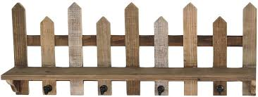 Foreside Picket Fence Wall Shelf Brown Amazon Co Uk Kitchen Home