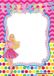 Girlie Birthday With Barbie Invitation Template Free Printable